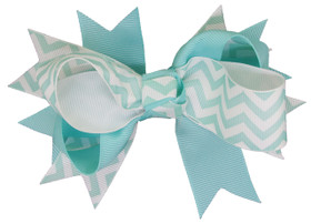 Aqua Chevron Double Tied Bows