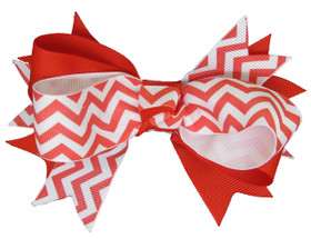 Red Chevron Double Tied Bows