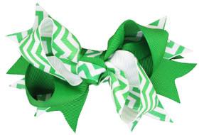 Green Chevron Double Tied Bows