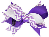 Purple Chevron Double Tied Bows