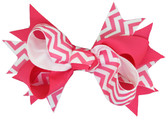 12 Hot Pink Chevron Double Tied Bows