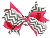 12 Black Chevron & Hot Pink Double Tied Bows