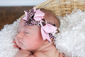 Pink Giraffe Double Tied Bows