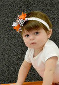 Double Tied Bow Zebra Print Orange