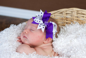 Purple and White with Purple Dots Double Tied Bows
