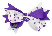 Purple & White with Purple Dots Double Tied Bows