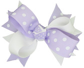 White & Lavender with White Dots Double Tied Bows