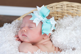 Aqua & White with Aqua Dots Double Tied Bows