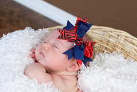 Navy Blue & Red Zebra Double Tied Bows