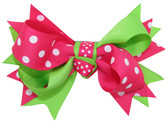 Lime Green & Hot Pink with White Dots Double Tied Bows