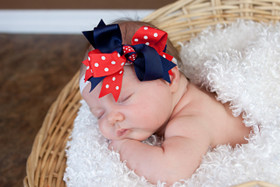 Navy Blue & Red with White Dots Double Tied Bows