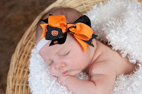 Orange & Black with Orange Pumpkins Double Tied Bows on Baby