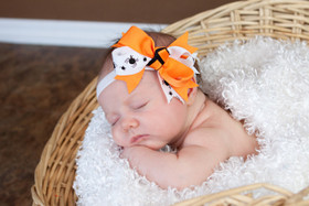 Orange & White with Black Spiders Double Tied Bows on Baby
