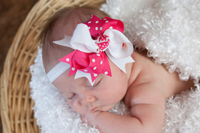 Hot Pink with White Dots & White Double Tied Bows