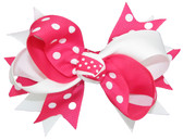 White & Hot Pink with White Dots Double Tied Bows