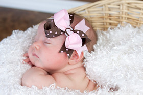 Pink & Brown with Pink Dots Double Tied Bows