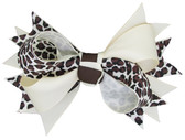 Ivory & Leopard Double Tied Bows