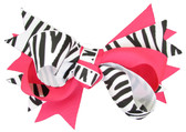 Zebra & Hot Pink Double Tied Bows