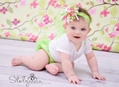 Korker Bow Clip Hot Pink, Lime Green, and White