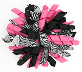 Zebra, Hot Pink & Black Korker Bows