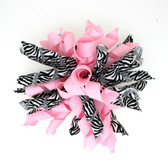Zebra & Light Pink Korker Bows