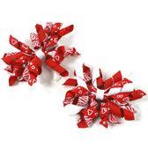 Red & White Curly Mini Korker Bows