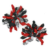 Zebra, Red & Black Curly Mini Korker Bows