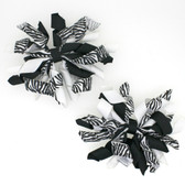 Zebra, Black & White Curly Mini Korker Bows