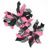 Zebra, Black & Hot Pink Curly Mini Korker Bows