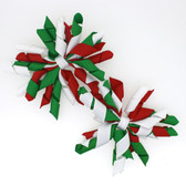 Red, Green & White Curly Mini Korker Bows