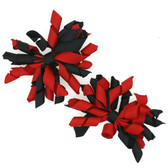 Red & Black Curly Mini Korker Bows