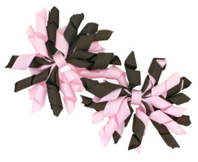 Pink & Brown Curly Mini Korker Bows