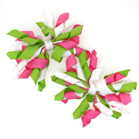 Hot Pink, Lime Green & White Curly Mini Korker Bows