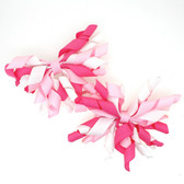 Hot Pink, Light Pink & White Curly Mini Korker Bows