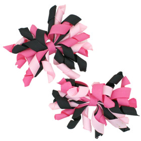 Hot Pink, Light Pink & Black Curly Mini Korker Bows
