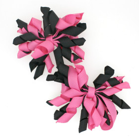 Black & Hot Pink Curly Mini Korker Bows