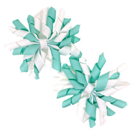 Aqua & White Curly Mini Korker Bows