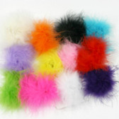 Yellow Marabou Puff Clips