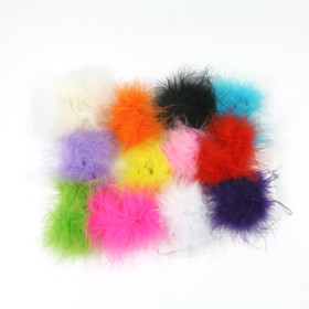 12 Assorted Marabou Puff Clips