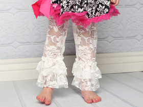White Lace Leggings with Ruffles