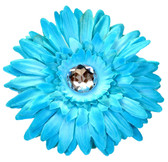 Turquoise Gerber Daisy Flower Clip