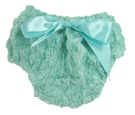 Aqua Rosette Diaper Cover for Girls