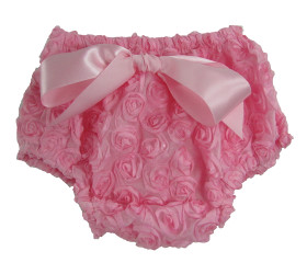 Light Pink Rosette Diaper Cover for Girls