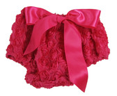 Hot Pink Rosette Diaper Cover for Girls