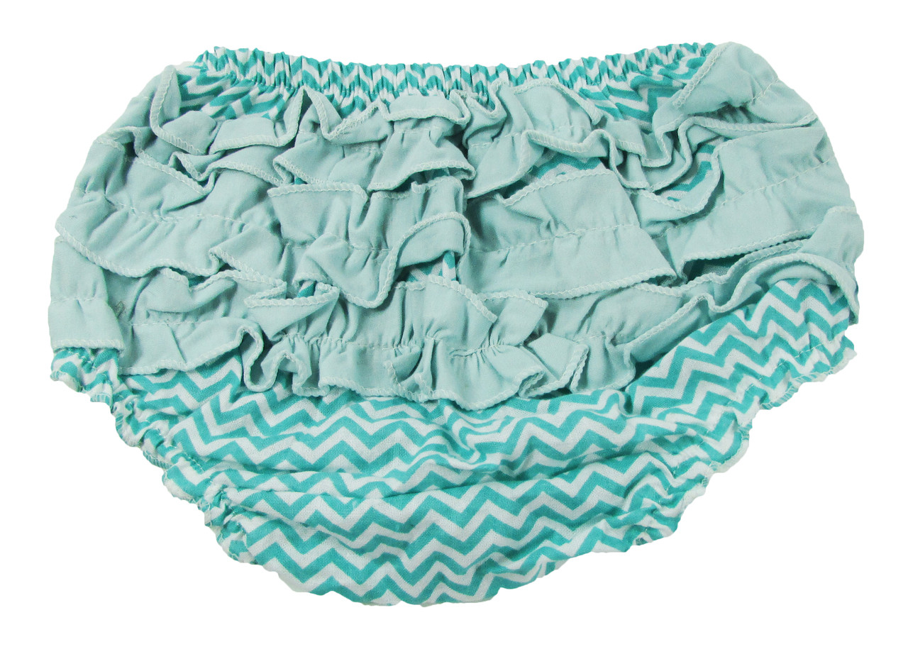 Aqua Chevron Diaper Cover with Ruffles