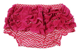 Hot Pink Chevron Diaper Cover with Ruffles