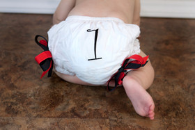 Red & Black Birthday Diaper Cover #1 Baby
