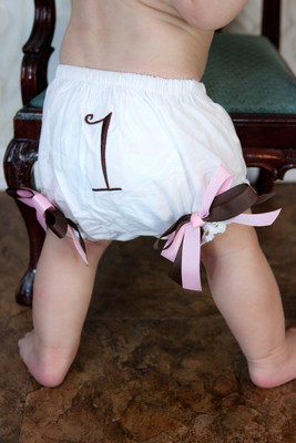 Light Pink & Brown Birthday Diaper Cover #1 Baby