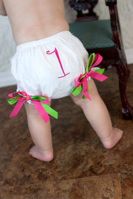 Hot Pink & Lime Green Birthday Diaper Cover #1 Baby