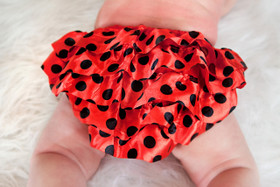 Red with Black Dots Satin Diaper Cover